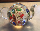 Art Glass Teapot Paperweight Mira no Style Millefiori Gold Inclusion Blue Red 3