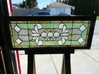 ANTIQUE STAINED AND BEVELED GLASS TRANSOM WINDOW 48 X 19 SALVAGE