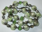VTG ANTIQUE GREEN CLEAR FOIL ART GLASS BEAD NECKLACE ITALY MURANO AVENTURINE