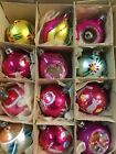 Vintage Christmas Tree Ornaments 12 Bulbs Santa Land Approximately 1 3 4