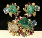 Rare Vintage Signed Alice Caviness Art Glass Brooch  Earrings Book Set A25