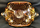 Murano Bullicante vintage Amber bowl EXQUISITE Gold Flecks brushed thru