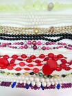 Vintage Necklace Lot Cherry Red Yellow Bubble Colored Crystals Glass Beads VCLM