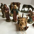 14 Hand Painted Clay Nativity Figures Spain Gorgeous Detail Rare Vintage Set