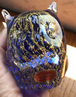 Vintage Murano Glass Owl Paper Weight made in Italy Blue Gold Billeconte