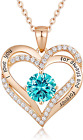 CDE Forever Love Heart Women Necklace 925 Sterling Silver Rose Gold Plated Birth