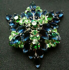 Vintage Large AB  Crystal Green and Blue Glass Rhinestone Brooch Pin
