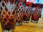 SET of 4 Vintage Bohemian Ruby Red Cut to Clear ETCHED Tall Glasses