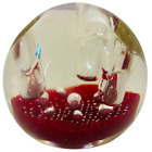 Murano Glass Paperweight Pen Holder Controlled Bubble Red With Genuine Sticker