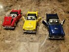 Ford Thunderbird Die Cast 132 Model Car Lot of 3 Red Yellow Blue Convertible