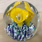 Gentile Glass Paperweight Yellow Flowers  Blue Green White Confetti