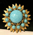 Rare Vintage Signed Miriam Haskell Gilt Robins Egg Blue Glass Brooch Pin A46