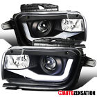 For 2010 2013 Chevy Camaro Black Projector Headlights Lamps+LED Bar Left+Right