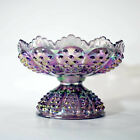 Fenton Hobnail 95th Anniversary footed bowl dish plum purple carnival