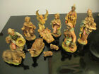 Vintage Large Christmas Nativity Manger Stable Creche Set 12 Figures Italy