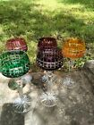 Set Of 5 Cut To Clear Crystal Wine Hocks Glasses Beautiful