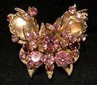 Rare Vintage 1 1 2 Signed DeMario NY Gilt Pink Art Glass Butterfly Brooch A39