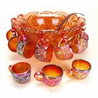 Imperial Glass Marigold Punch Bowl Whirling Star Amberina Cups Heirloom 13pcs