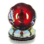 Indiana Glass Heirloom Sunset Red Carnival Iridescent Bread Plate Saucer 4pcs