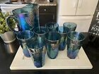 Vintage Indiana Blue Carnival Glass 8 Tumblers and Pitcher Harvest Grapes