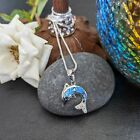 Dolphin Pendant Necklace with Blue Lab Opal and CZ Sterling Silver