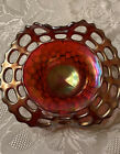 Fenton Carnival Glass Amberina 2 Row Open Edge Jack in Pulpit Hat Bowl