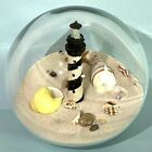 Glass Paperweight Sand Globe With Lighthouse and Shells