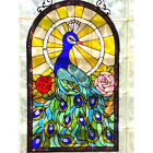 Tiffany Style Peacock Design Stained Glass Window Panel Suncatcher 32inx20in