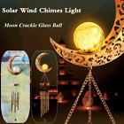 Solar Wind Chimes LED Night Light Moon Crackle Glass Ball Retro Copper Wind Bell