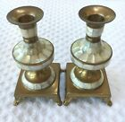 Vintage Brass Mother of Pearl Inlay Footed Candlestick Candle Holders Set of 2