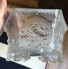 Verlys French Satin Glass Frosted Bowl Hexagon Footed Gorgeous Raised Flowers