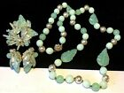 Miriam Haskell Set Rare Vintage Signed Mint Green Glass Necklace Brooch Earrings