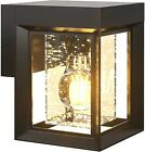 Modern Outdoor LED Wall Light Fixture Sconce Industrial Black Porch Seeded Glass