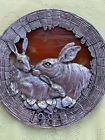 Annual Plate M A RICKER PEWTER  SLAG GLASS 1984 Amber Glass Rabbits