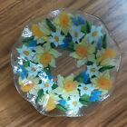 PEGGY KARR Fused Glass BOWL SIGNED 1075 ins Flowers Daffodils Hyacinths 2001