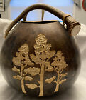 Large Hand Carved  Painted Gourd Bucket with Deer Antler Handle