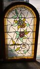 Beautiful Arched Top Stained Leaded Glass Flower Vine Window w Jewels 49 x 28