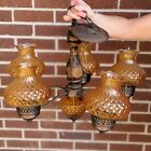 Vintage Amber Glass Chandelier Fenton Quilted Pattern Shades