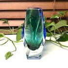Mid century Murano geometric somerso bud vase green and blue with tag