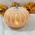Orange Iridescent Opal Glass Pumpkin Caged Faux Pearl Luxury LED Light up Fall