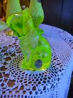 Fenton Topaz Vaseline Opalescent Curious Sitting Cat with Sticker and Stamp
