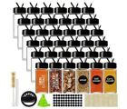36pcs 4oz Glass Spice Jars Spice Containers Square Spcie Bottles with Black Caps
