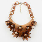 Vintage Italian Design Copper Lucite Bib Necklace Flower and Pearl