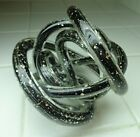 Cased Black Sparkle Art Glass Knot Twisted Figurine Paper Weight Murano