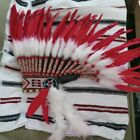 Native American Indian Feather Headdress Feathers Red bead work