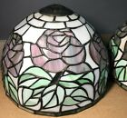 Pair of 2 Tiffany Style 10 Rose Flower Stained Glass Table Lamp Shades Vintage