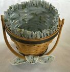 LONGABERGER 1999 May Series Basket W/ DAISY LINER, FABRIC TIE, PROTECTOR SET