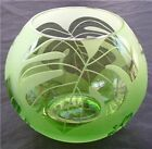 VTG MICHAEL WEEMS for TOMMY BAHAMA GREEN ETCHED ART GLASS ROSE BOWL 2006