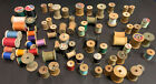 WOODEN SEWING SPOOLS LOT of 72 w Thread Cotton Various Sizes  Colors Crafts