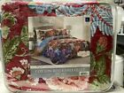 New Sydney Floral Cotton Reversible Quilt Full Queen Red Blue 3 Pc Set